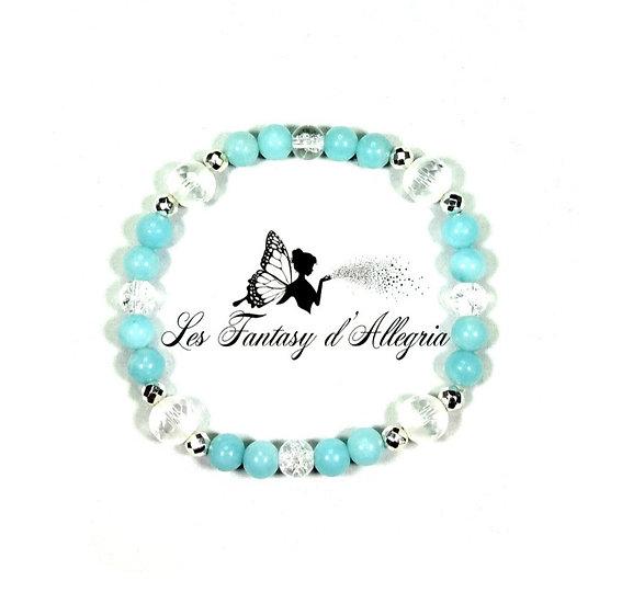 bracelet en perles amazonite cristal de roche 6mm 8mm