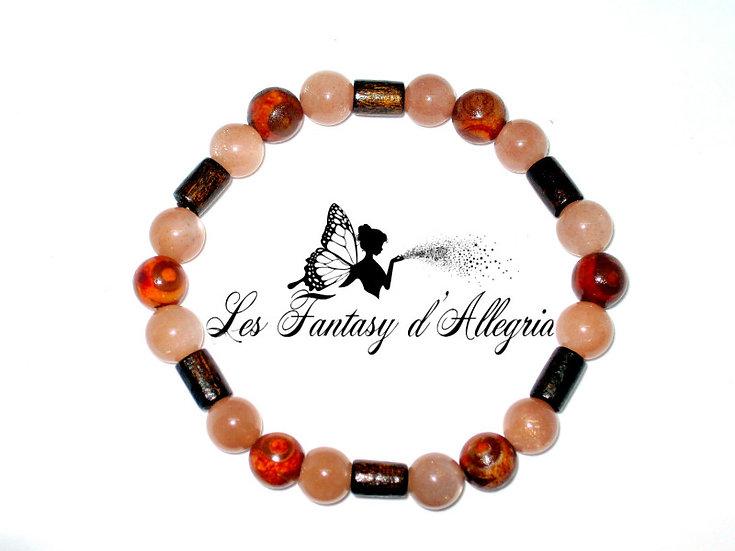 Bracelet en Pierre de soleil (Sunstone) et perles Tibétaines.