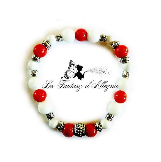 bracelet en perle agate howlite corail