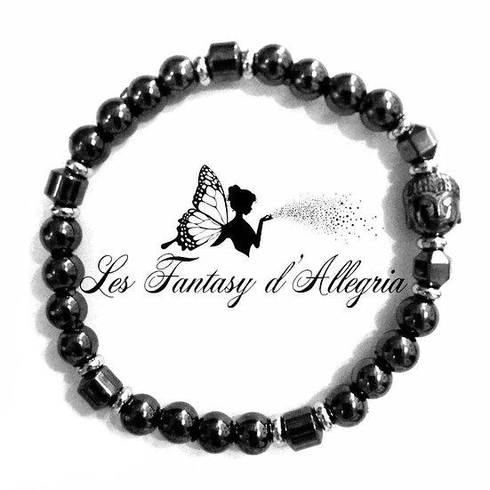 bracelet en perles hématite 6mm tête de bouddha
