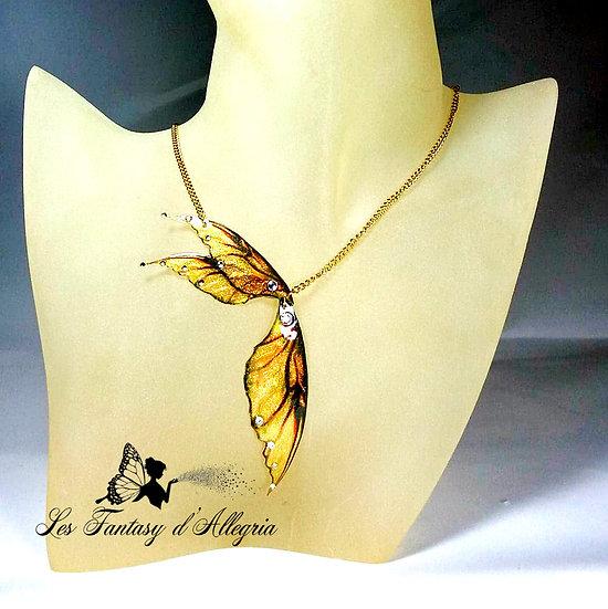 Bijoux collier ailes de fée elfe doré à paillettes acier doré bouton d'or
