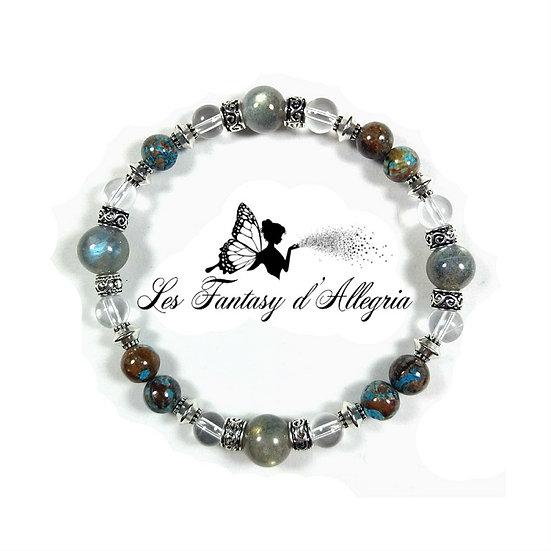 bracelet de perles labradorite cristal de roche et agate 6mm 8mm