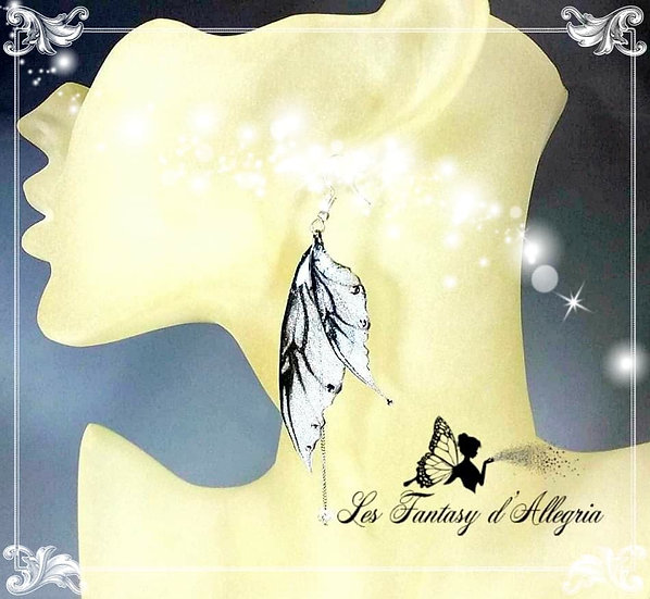 bijoux boucles d'oreilles ailes de fée elfe argenté flocon d'argent