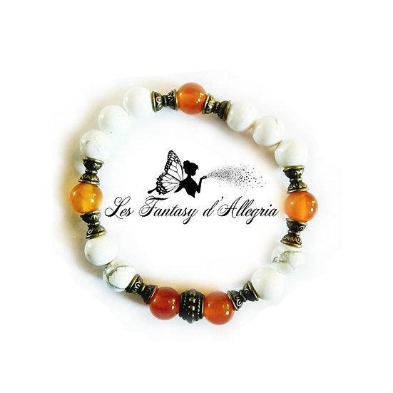bracelet de perles howlite et cornaline 8mm
