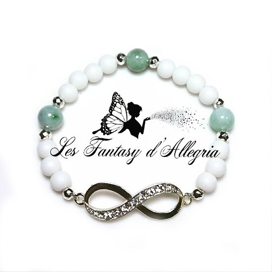 Bracelet en perles agate et jade symbole infini