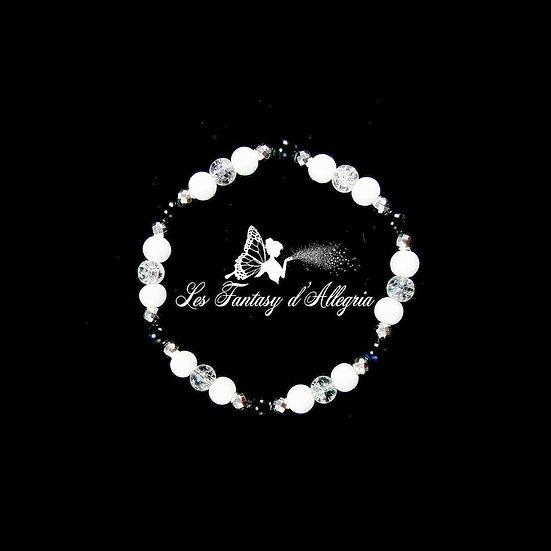 bracelet en perle oeil de faucon cristal de roche agate