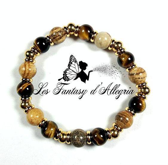 bracelet en perle jaspe paysage oeil de tigre 8mm