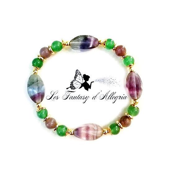 bracelet de perles fluorite lépidolite aventurine 6mm