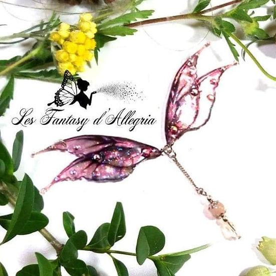Bijoux collier ailes de fée elfe rose à paillettes acier argenté passion de rose