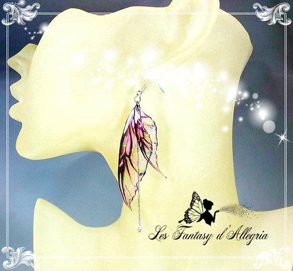 bijoux boucles d'oreilles ailes de fée elfe rose bouton de rose