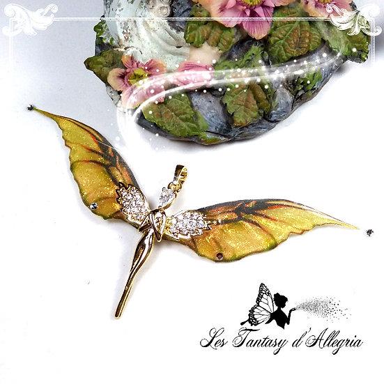 bijoux pendentif ange aile de fée elfe Lelahel doré Haziel