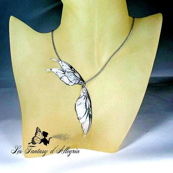 Bijoux collier ailes de fée elfe argenté à paillettes acier argenté flocon d'argent