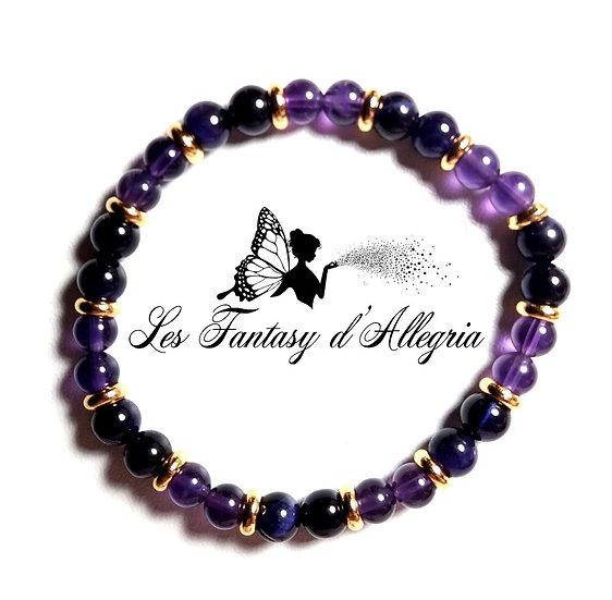 bracelet de perles améthyste et oeil de tigre 6mm