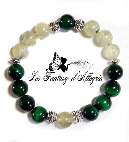 bracelet en perles phrénite oeil de tigre 10mm