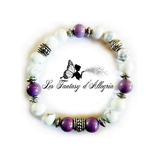 bracelet de perles howlite et phosphosidérite 8mm