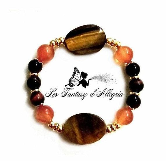 bracelet en perles en oeil de taureau, cornaline et oeil de tigre 8 et 10mm