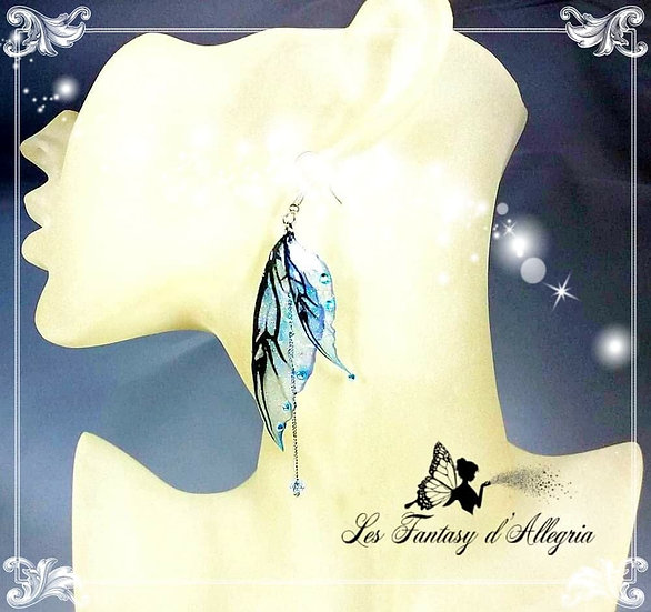 bijoux boucles d'oreilles ailes de fée elfe bleu aqua aura