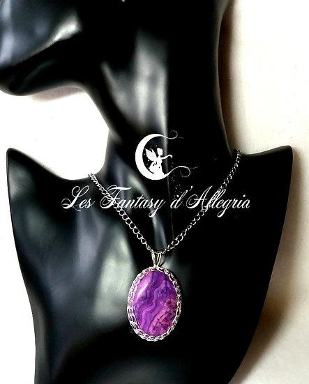"""""""Dentelle"""" sur Agate crazy lace violette"""