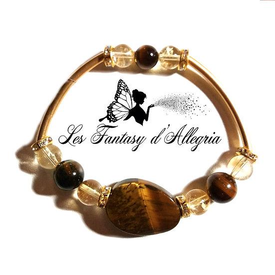 bracelet en perle citrine et oeil de tigre