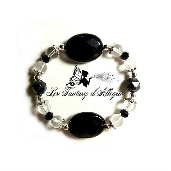 bracelet de perles quartz rutile noir cristal de roche agate