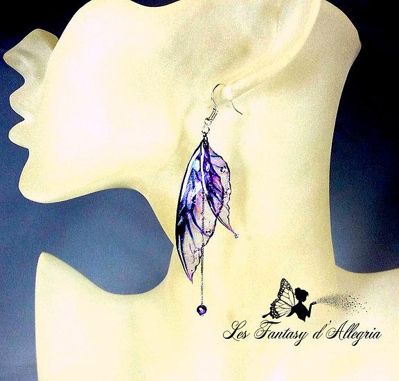 bijoux boucles d'oreilles ailes de fée elfe violette à paillettes elfe violette espiègle