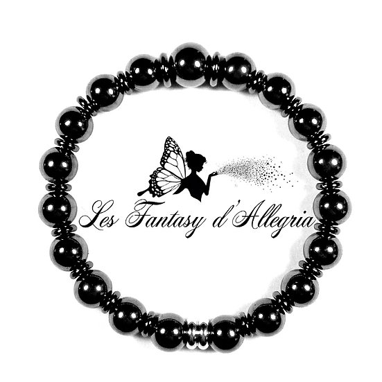 bracelet en perles hématite 8mm