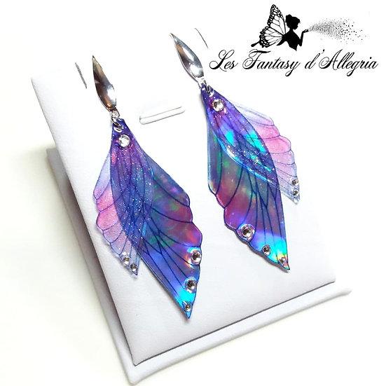 boucles d'oreilles ailes de fée bleu laser holographique