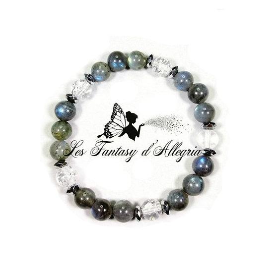 Bracelet de perles Labradorite et Cristal de roche 8mm