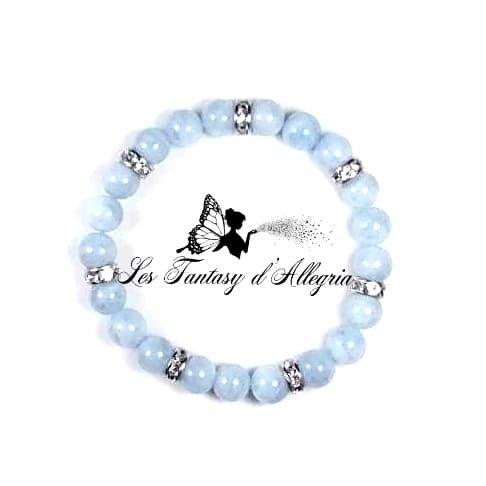 bracelet en perles aigue marine 8mm