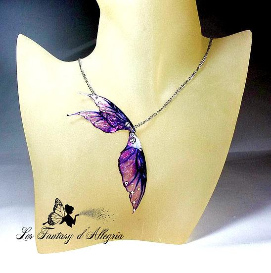 Bijoux collier ailes de fée elfe violet rose effet métallisé acier argenté aube tardive