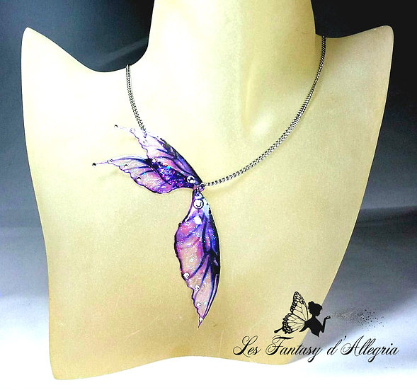 Bijoux collier ailes de fée elfe violet à paillettes violette espiègle acier argenté