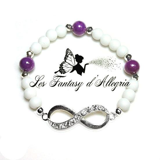 Bracelet en perles agate et phosphosidérite symbole infini