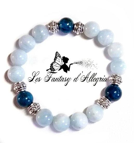 bracelet en perles aigue marine et apatite 10mm
