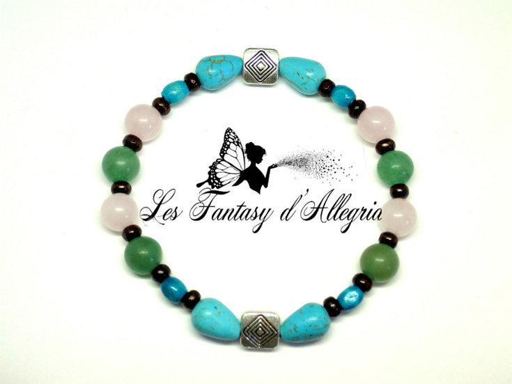 Bracelet en Aventurine, Quartz rose et Turquoise.