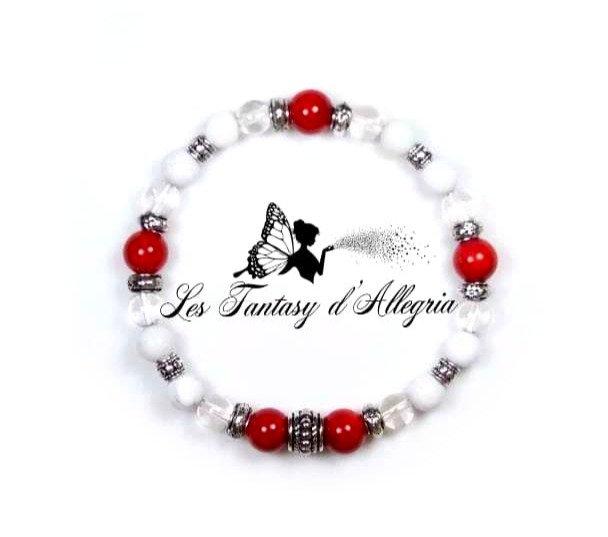 bracelet de perles agate, corail et cristal de roche 6 et 8mm