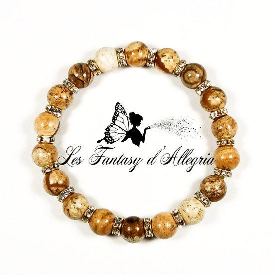 bracelet de perles jaspe paysage 8mm