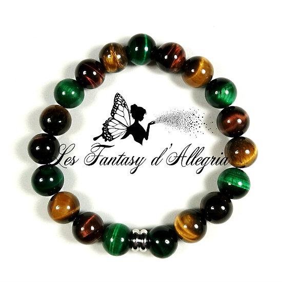 bracelet de perles oeil de tigre et oeil de taureau 10mm