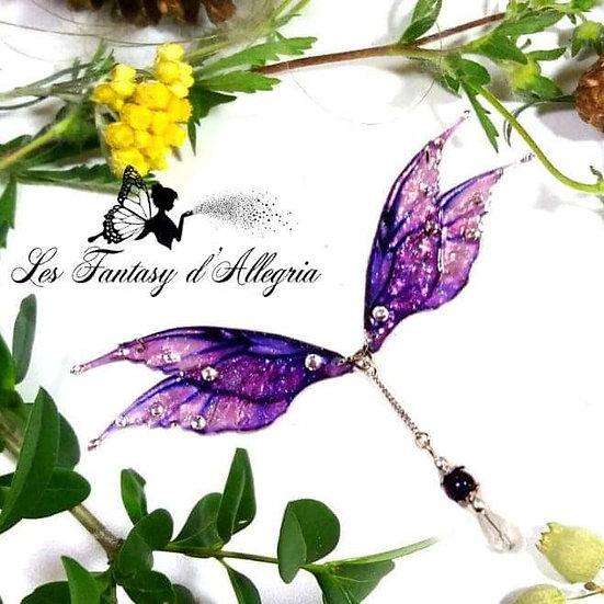 Bijoux collier ailes de fée elfe violet rose à paillettes acier argenté fragrance de nuit