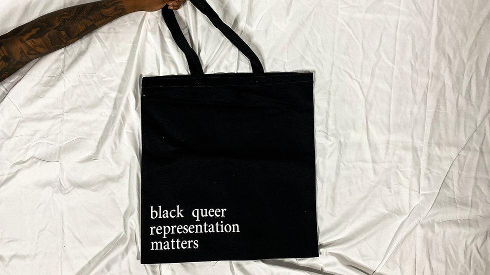 black queer matters canvas bag -black
