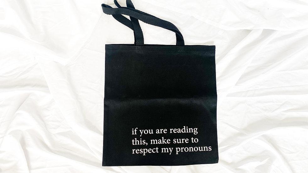 respect my pronouns canvas bag -black