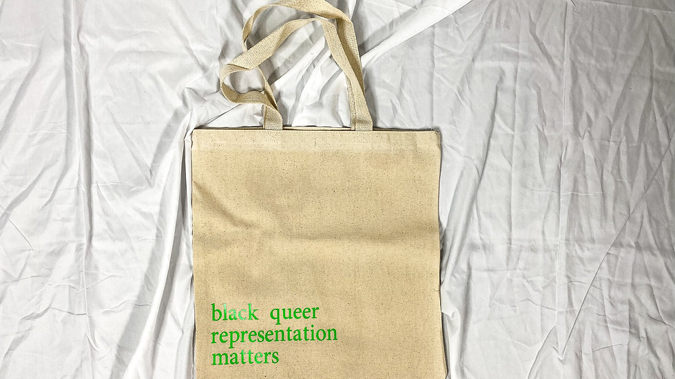 black queer matters canvas bag - natural