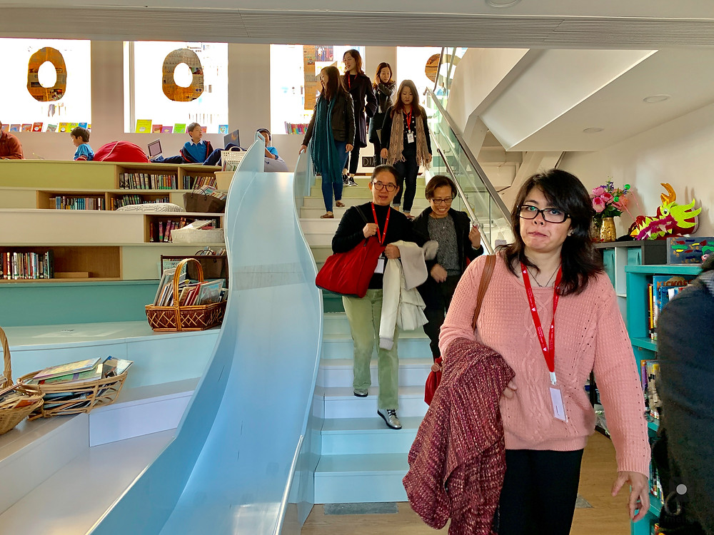 Watchdog therapists tour the Grove Campus.  Pictured: Our library's slide