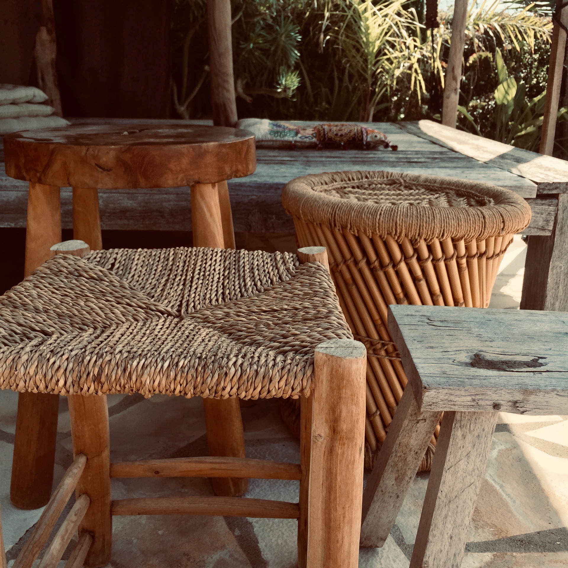 wooden stools/tables