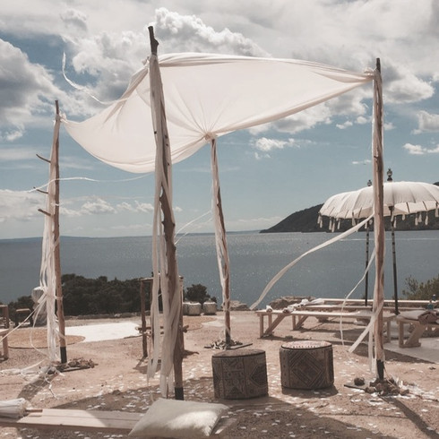 bohemian Ibiza wedding arch