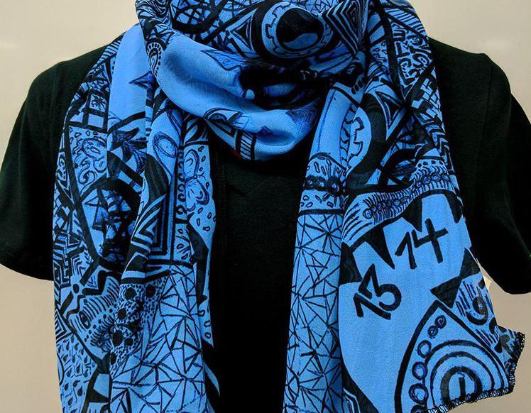 Ellie Shakiba-Blue scarf 100% Silk Charm