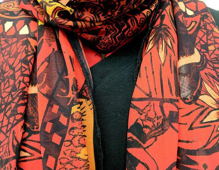 Ellie Shakiba - Red scarf 100% Silk Char