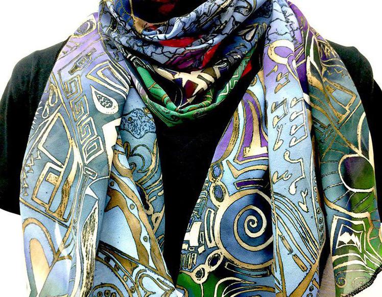 Ellie Shakiba-Violet scarf polyester-05.