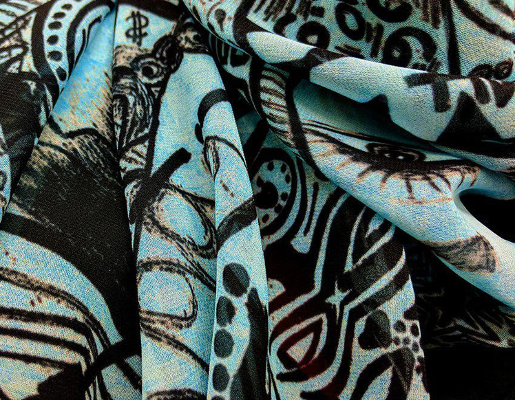 Ellie Shakiba - Cyan scarf 100% Silk Cha