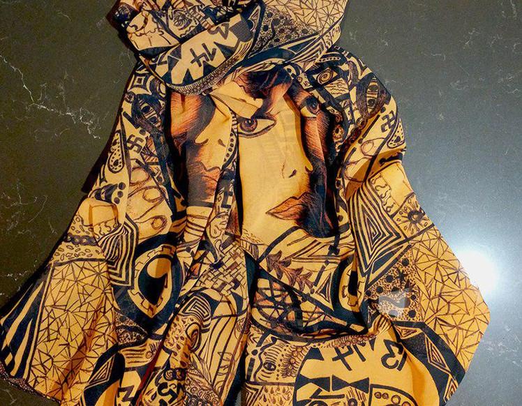 Ellie Shakiba - Gold scarf 100% Silk Cha