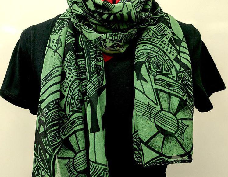 Ellie Shakiba - Green scarf polyester-01